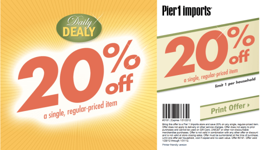 In Store Coupons Pier One