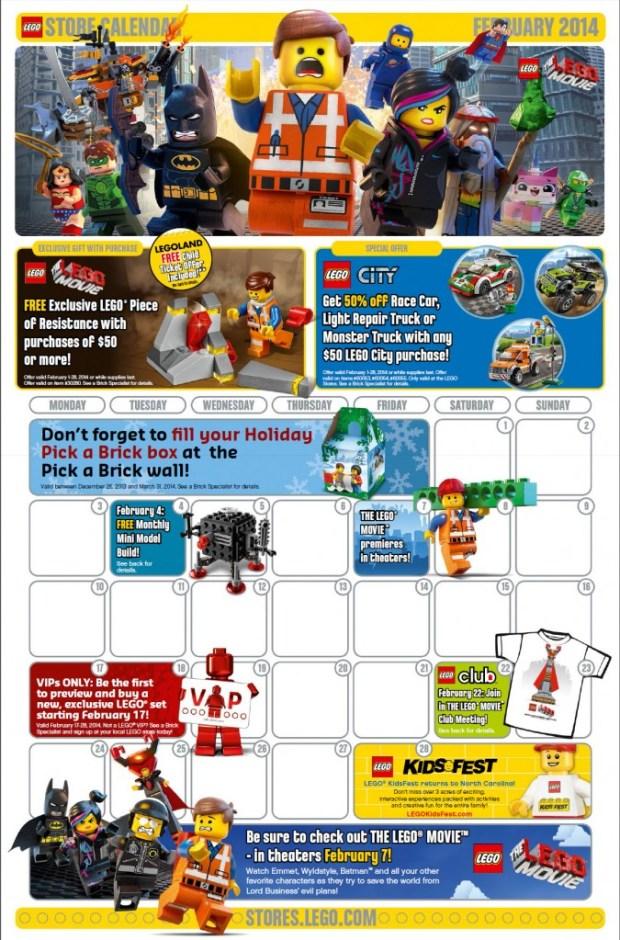 February  Lego Store Calendar