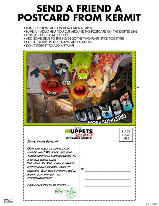 Free Disney Activity Sheet - Muppets Most Wanted Printable Kermit Postcard