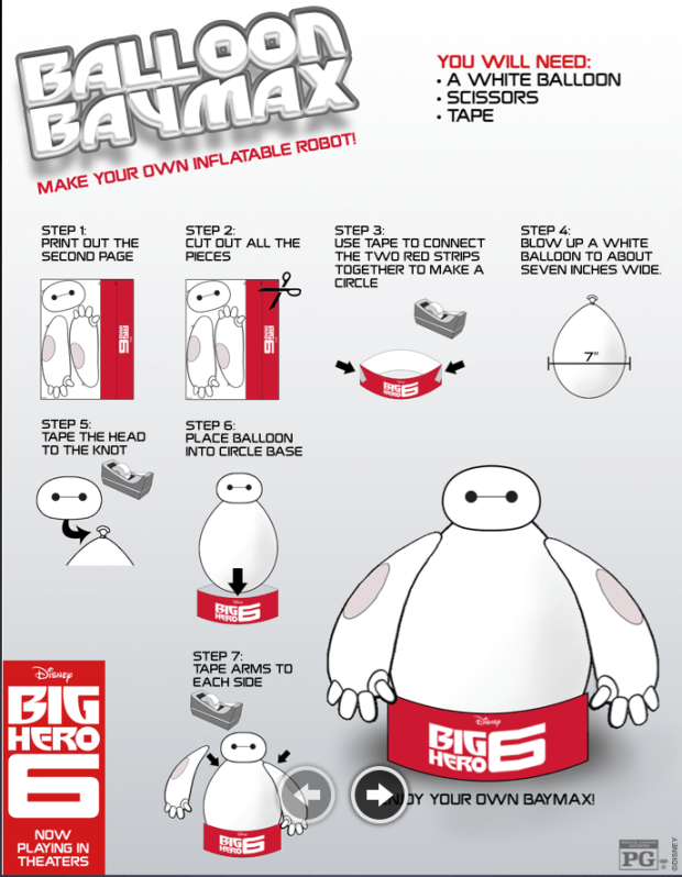 Create your own Big Hero 6 Balloon BayMax #free #kids #activities via @CleverlyChangin