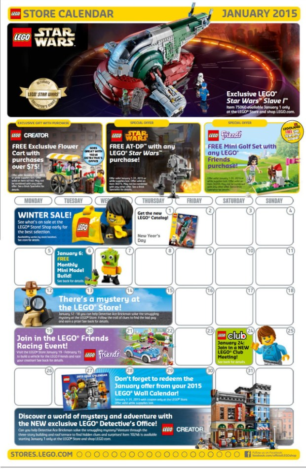LEGO Store Calendar for January 2015 #lego #events #parenting