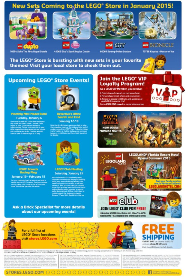 LEGO Store Calendar for January 2015 #lego #events
