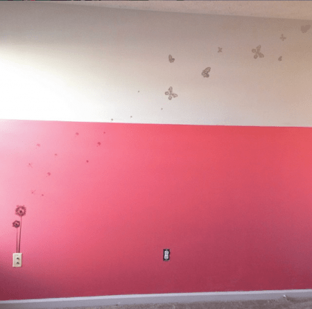 Pink and White Room Accent Wall