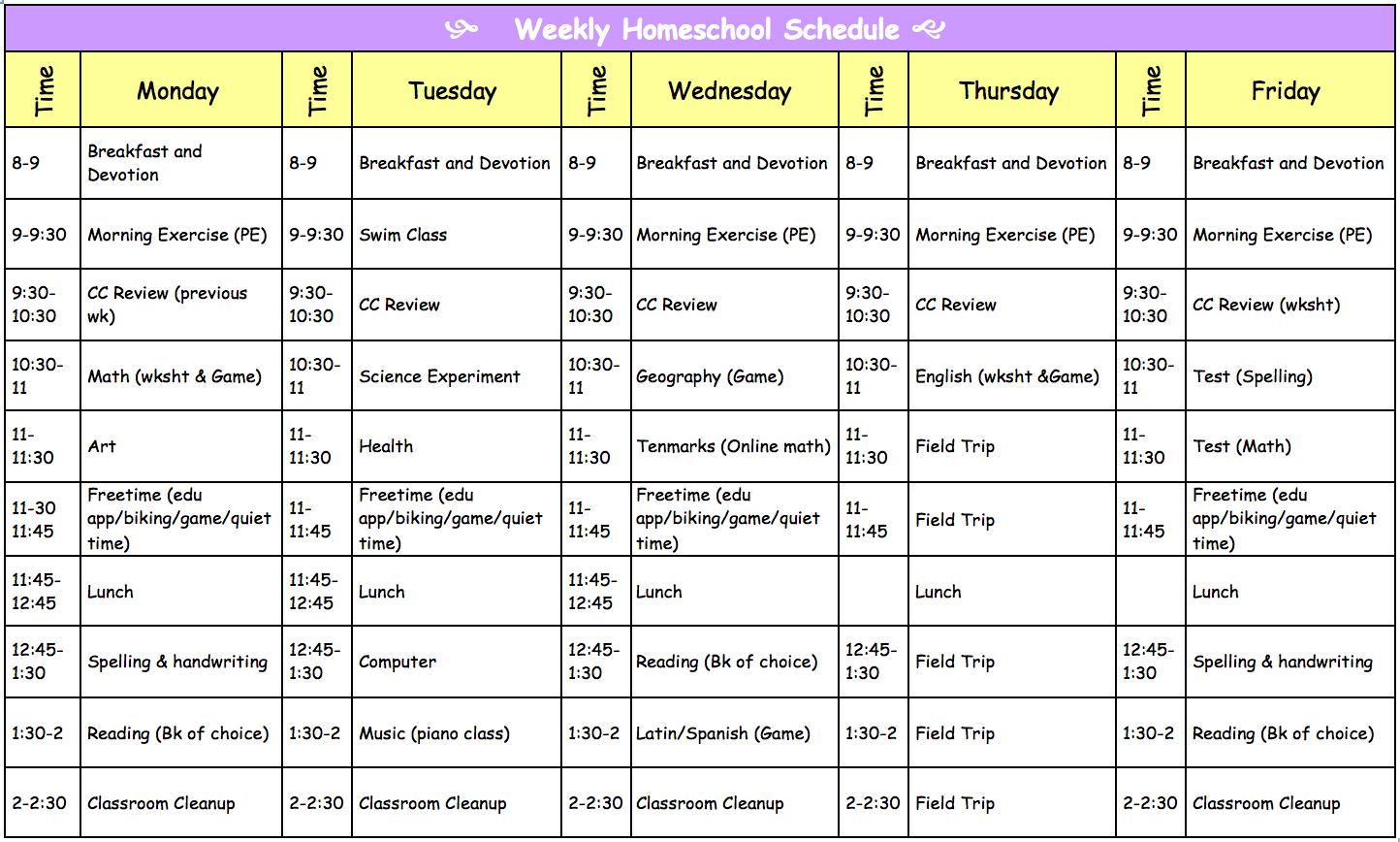 Homeschooling With Love Our Homeschool Schedule