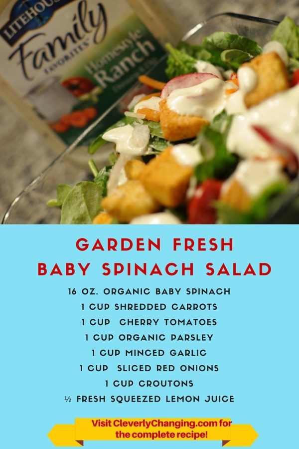 Garden Fresh Baby Spinach Salad #recipe