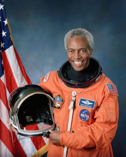 Guion Bluford first african american to travel in space.