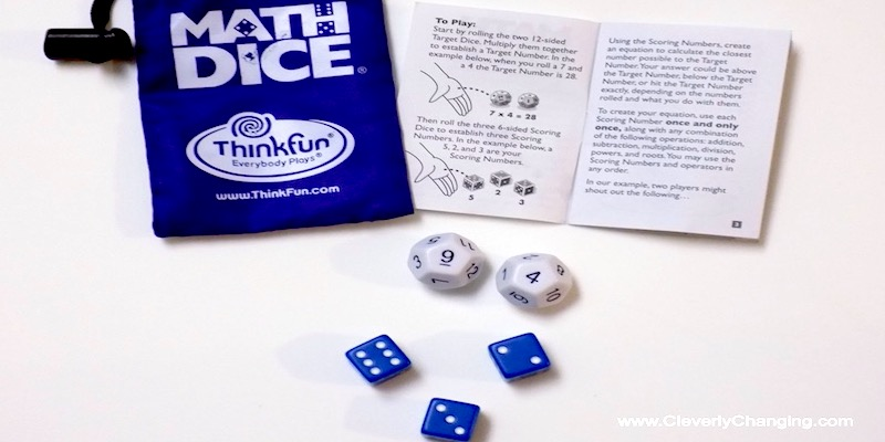 Math Dice a Mental Math Gamefor adults and kids ages 8 and up via @CleverlyChangin