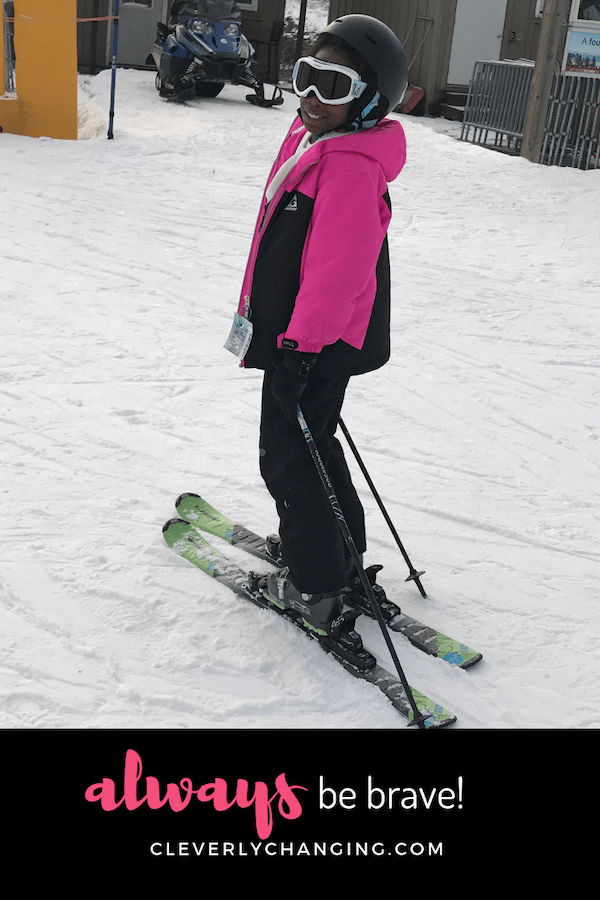 African American Child Skiing