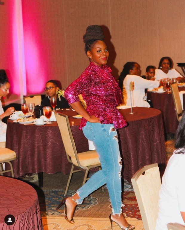 African American Blogger Elle wearing the KMillsCollection hot pink top