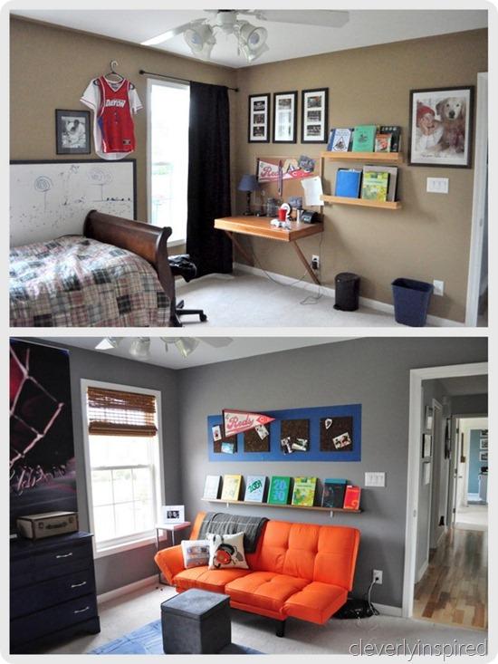 Boys gray and orange bedroom - Reveal (decorating boys room) on Teenage Grey Small Bedroom Ideas  id=23314
