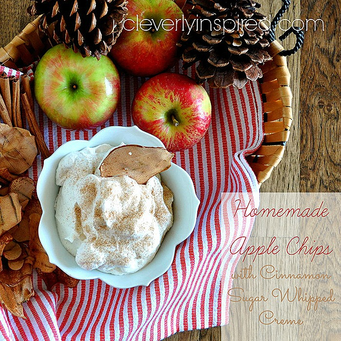 homemade apple chips with cinnamon sugar whipped creme @cleverlyinspired (4)fb
