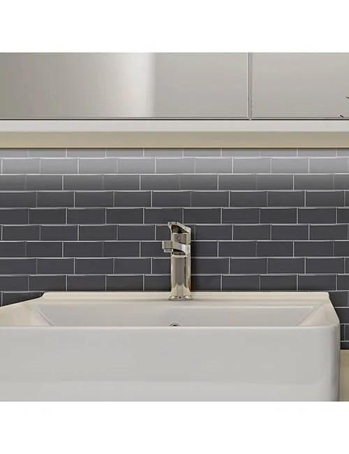 gray subway vinyl wall tile thicker design cm81701 6pcs pack