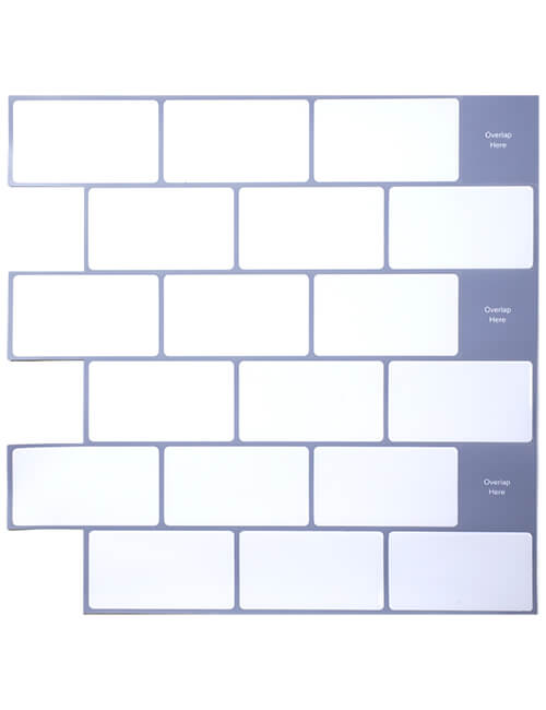 white peel and stick tile with grey grout 12 x 12 inch cm90102 6pcs pack