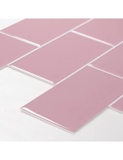 thick peel and stick pink subway tile backsplash