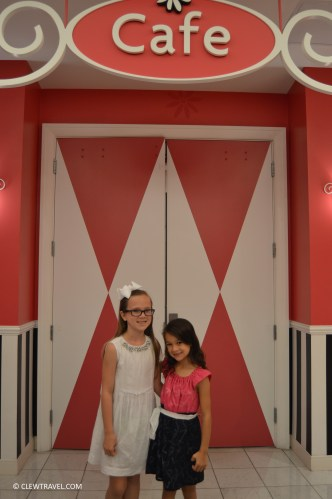 Emily and Caitlyn in front of the American Girl Cafe