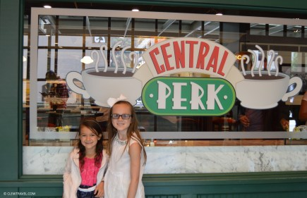 Caitlyn and Emily in front of Central Perk from Friends