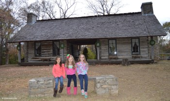 Outside the old cabin at Belle Meade