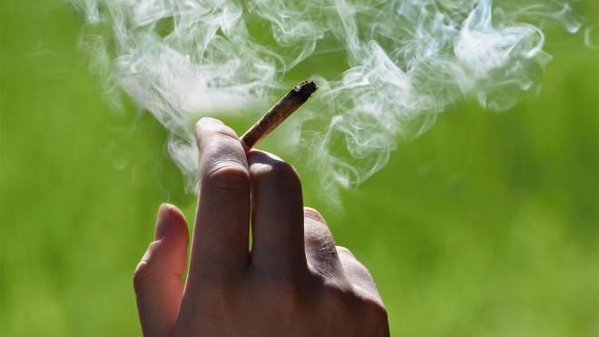 A close up of a marijuana cigarette burning between a mans fingers