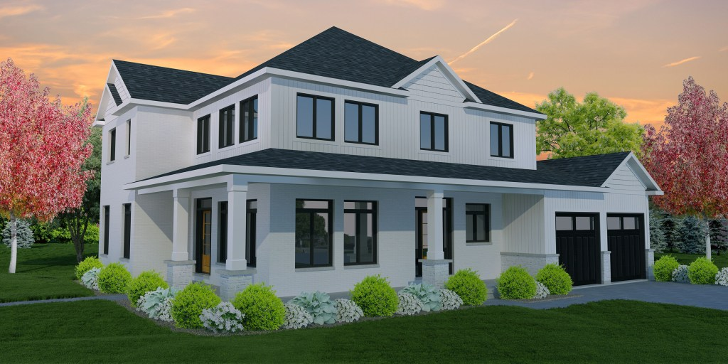 rendering of two-storey modern farmhouse with wrap-around porch