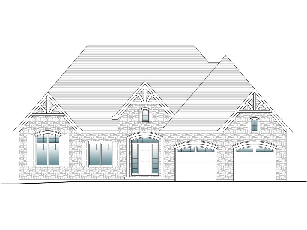 drafted front elevation of a french chateau home