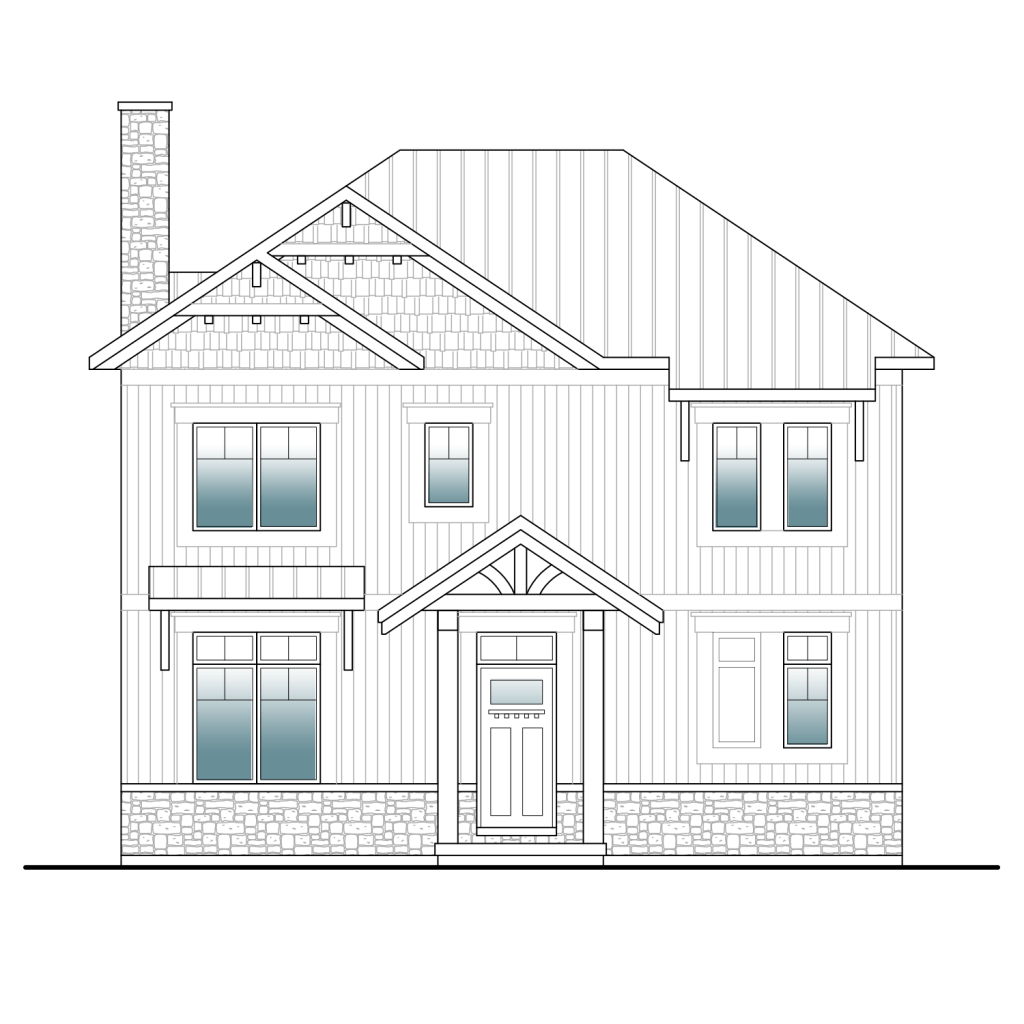 blueprint front view of a two storey craftsman home