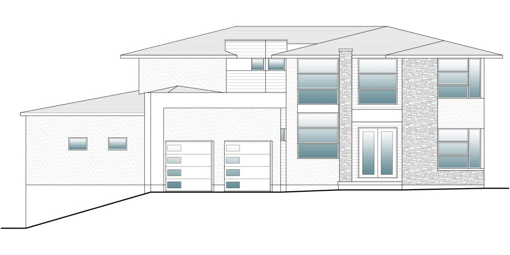 drafting view of a modern home front facade