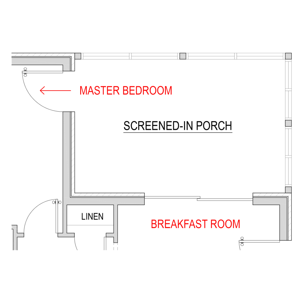 blueprint of a screened-in porch coming off the master bedroom and breakfast room