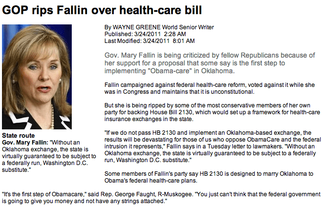Tulsa World: GOP rips Fallin over health-care bill