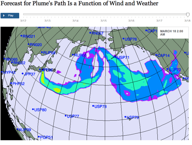 Radiation Plume Forecast Function of Wind and Weather from Japan Earthquake Aftermath