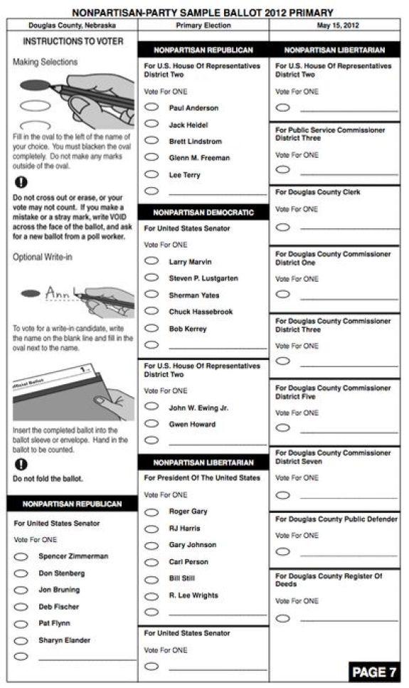 Douglas County Nebraska Primary Election Countywide Sample Ballot Page 7