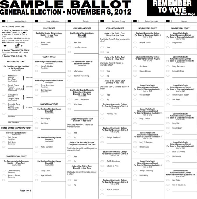 Official SAMPLE BALLOT: Lancaster County, NE November 6, 2012