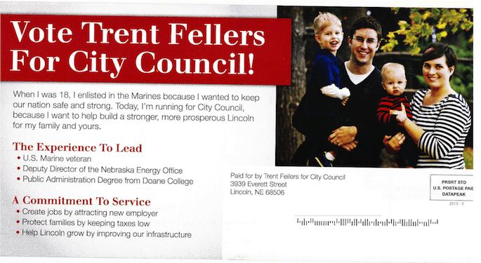 """Trent Fellers """"Leadership"""" Campaign Mailer April 2013 Address side"""