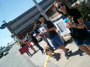 Peaceful Protesters Gather at Ardmore Police Station in Support of Justice for Cali, Dog Who Was Shot by Police
