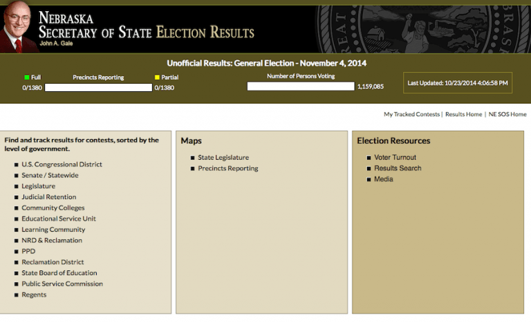 Nebraska Secretary of State Election Night Results main page