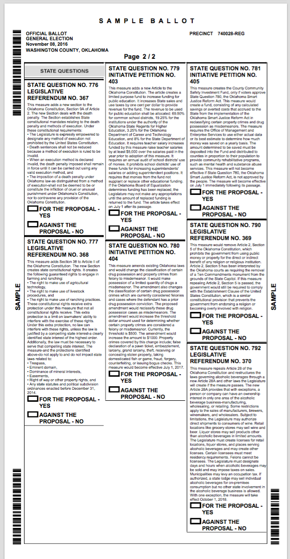 Oklahoma: My Sample Ballot in Washington County for the General ...