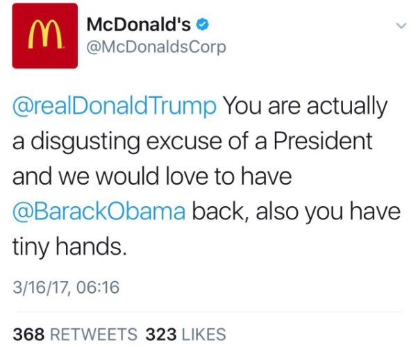 McDonalds Twitter account just ate its own lunch