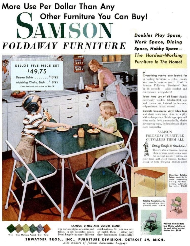Card tables & folding furniture from the fifties