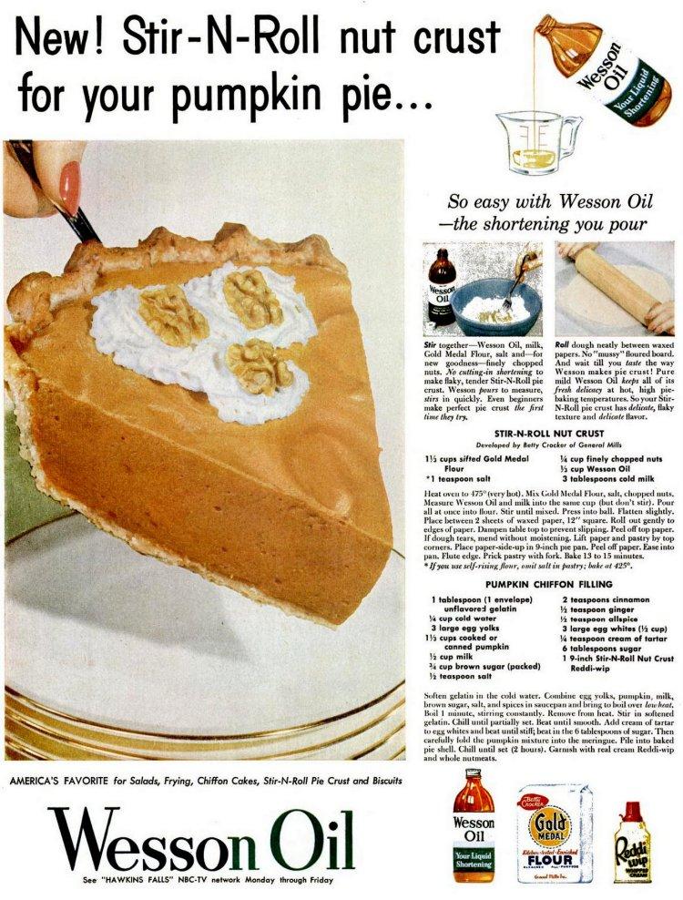 1954 Wesson oil pumpkin pie recuoe