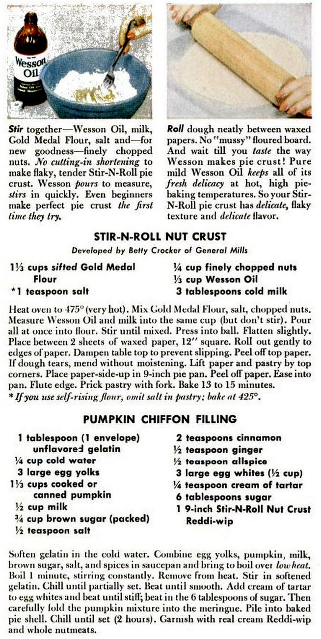 1954 pumpkin pie with vegetable oil crust