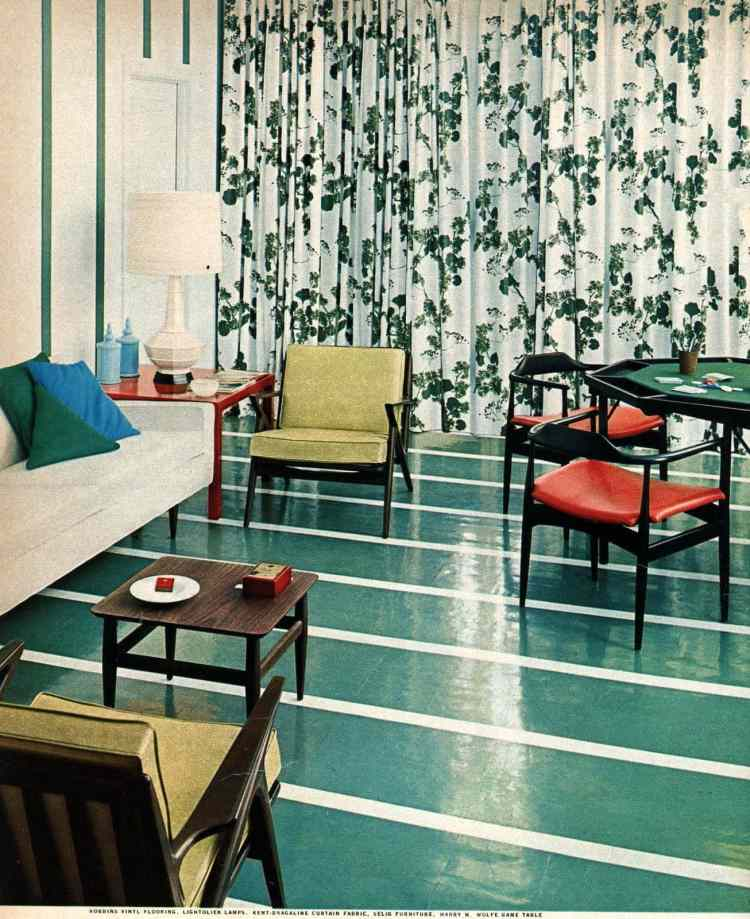 1958 Striped green and white shiny retro flooring