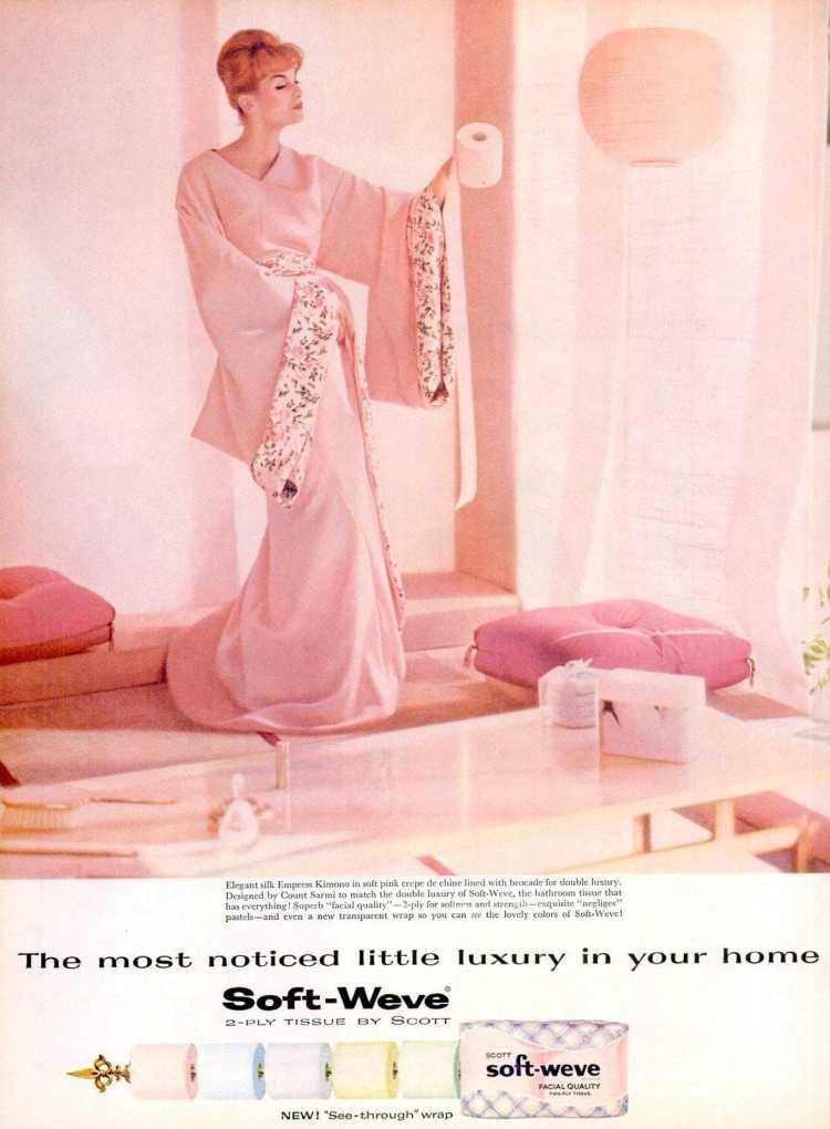 1959 Soft-Weve toilet paper - Kimono woman in pink