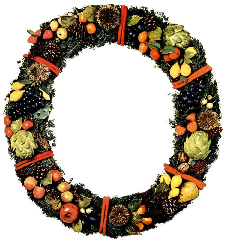1964 Christmas wreath with fruits and vegetables