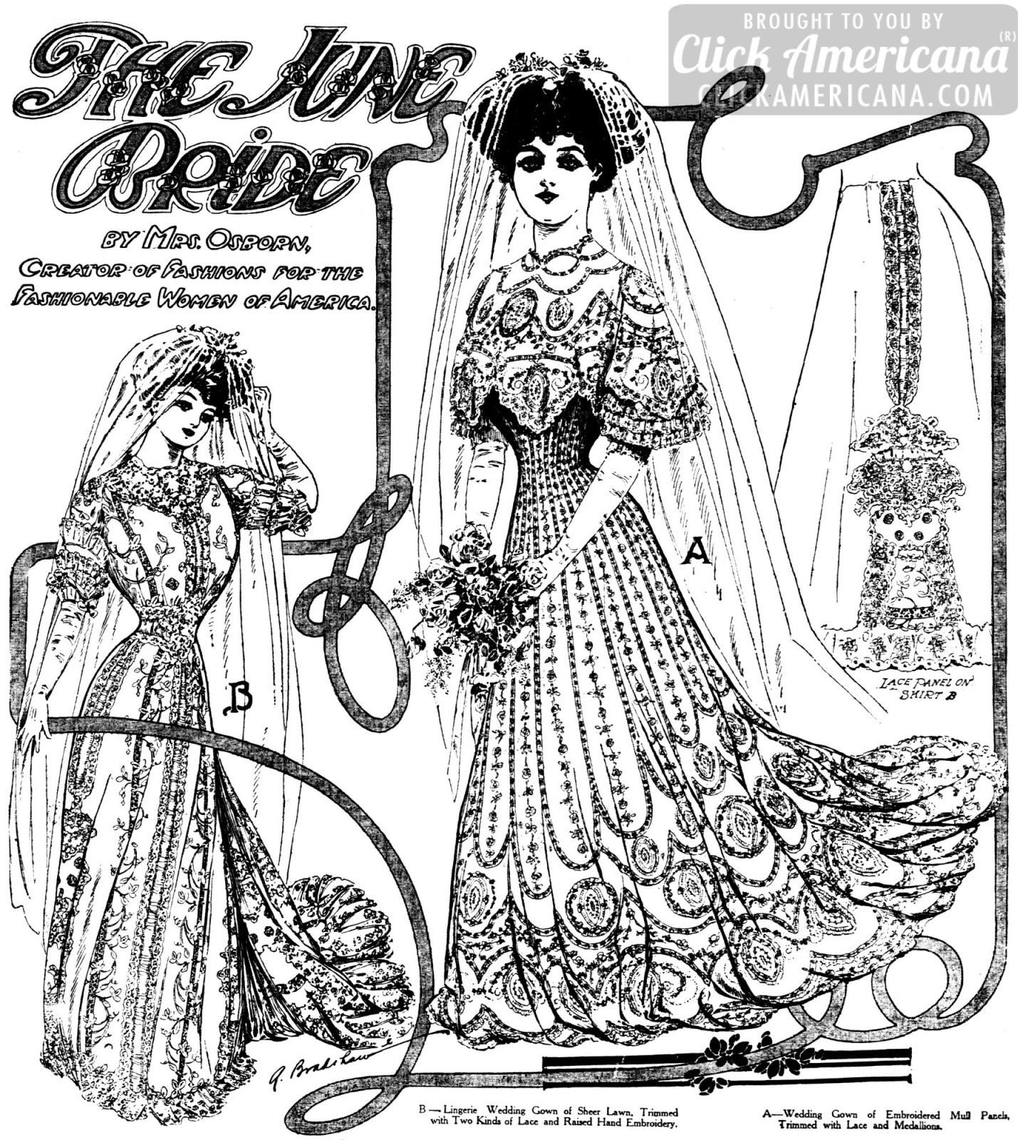 Two fashionable antique wedding gowns from 1906 - Click Americana