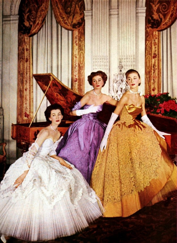 3 breathtakingly gorgeous evening gowns from the 50s