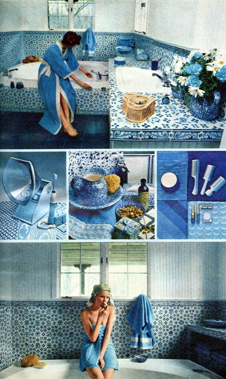 70s retro bathroom decor in blue