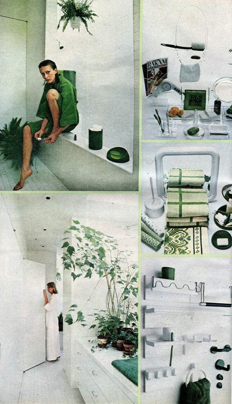 70s retro bathroom decor in green