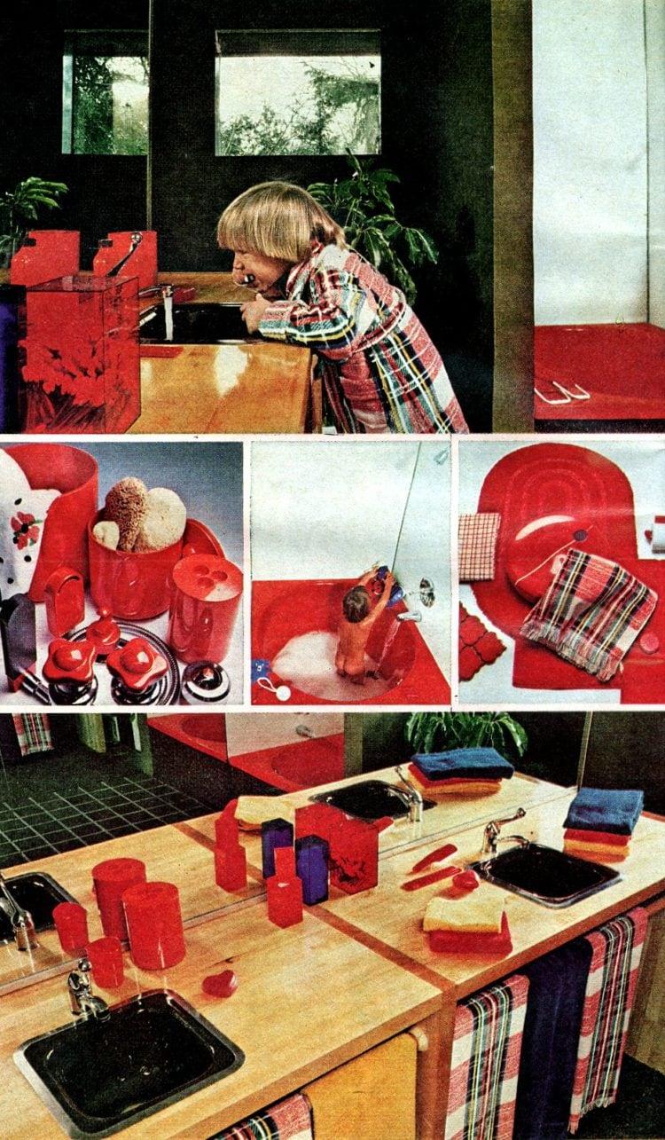 Red retro bathroom decor