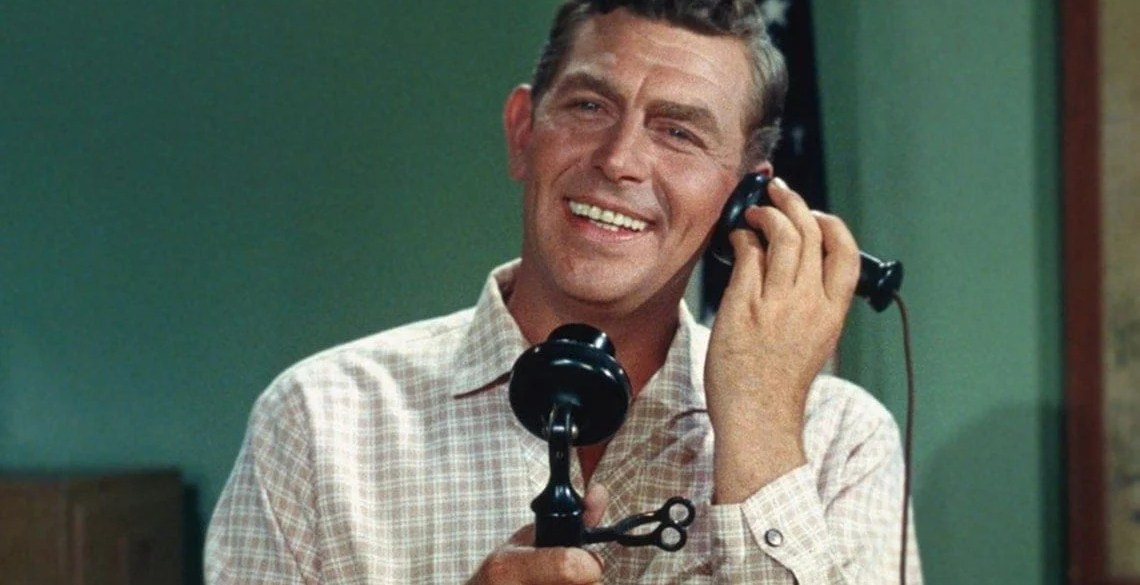 Andy Griffith on a telephone