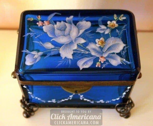 Antique Enameled Blue Glass Sugar Caskets 1800s Click