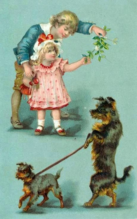 Antique Christmas cards with dogs - vintage postcards (1)